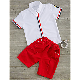 Toddler Boys' Clothing Set Stripes Cotton White Red Season:Summer; Fabric:Cotton; Gender:Boys'; Note:Wash it before you wear; Kids Apparel:Clothing Set; Age Group:Toddler; Pattern:Stripes; Front page:FF; Net Weight:0.000; Listing Date:08/04/2017; Bust:; Length [Bottom]:; Length [Top]:; Waist:; SizeChart1_ID:636:271870; Base Categories:Kids' Clothing Sets,Kids' Clothing,Clothing,Apparel  Accessories; Special selected products:Clearance