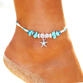 Anklet Ankle Bracelet Ladies Bohemian Vintage Women's Body Jewelry For Holiday Bikini Beads Yoga Turquoise Alloy Starfish Silver 1pc