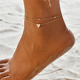 Anklet Ankle Bracelet Dainty Ladies Simple Women's Body Jewelry For Gift Holiday Layered Twisted Yoga Alloy Sweet Heart Gold Silver 1pc