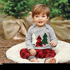 Baby Boys' Basic Christmas / Daily / Holiday Print / Christmas Embroidered Long Sleeve Regular Cotton Clothing Set Gray / Toddler