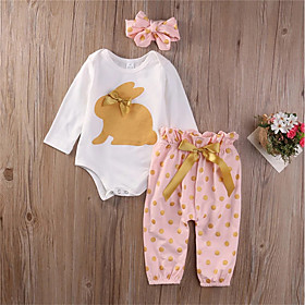 Baby Girls' Boho Daily Easter Rabbit Polka Dot Bow Long Sleeve Long Long Clothing Set White / Toddler