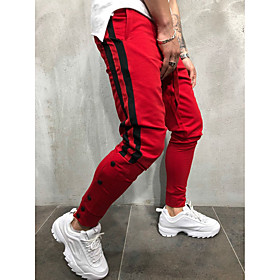 Men's Basic / Street chic Daily Sports Harem / wfh Sweatpants Pants - Striped / Color Block Black  Red / Black  White, Drawstring Black Red Yellow XL XXL XXXL