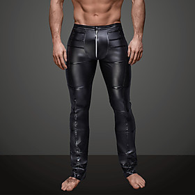 Men's Daily / Club Sporty / Basic Legging - Solid Colored, Ruched Mid Waist Black L XL XXL / Punk  Gothic