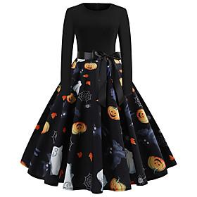 Pumpkin Dress Adults Women's Vacation Dress Halloween Halloween Festival / Holiday Polyster Black Women's Easy Carnival Costumes / Belt