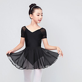Ballet Skirts Ruching Girls' Training Performance Short Sleeve Elastane Lycra