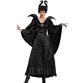 Maleficent Dress Cosplay Costume Adults' Women's Vacation Dress Halloween Carnival Festival / Holiday Black Women's Female Easy Carnival Costumes Solid Color /