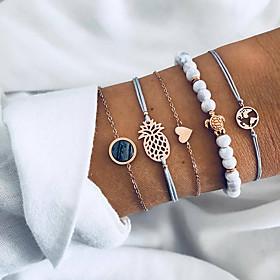 5pcs Women's Chain Bracelet Charm Bracelet Bracelet Bangles Layered Beads Maps Turtle Pineapple Ladies Unique Design Boho Cord Bracelet Jewelry Gold / Golden 2