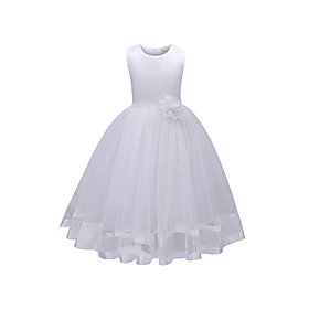 Kids Girls' Basic Daily Solid Colored Sleeveless Dress White / Cotton