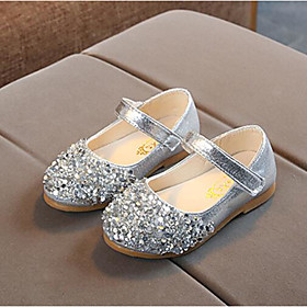 Girls' Flats Flower Girl Shoes PU Toddler(9m-4ys) / Little Kids(4-7ys) Sequin / Magic Tape Pink / Gold / Silver Spring   Fall