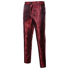 Men's Active Basic Daily Sports Dress Pants Pants Geometric Black Purple Wine S M L