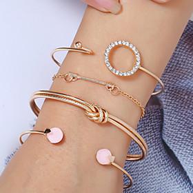 4pcs Women's Bracelet Layered Arrow Knot Simple European Fashion Rhinestone Bracelet Jewelry Gold / Silver For Party Daily