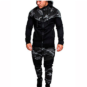 Men's Daily Activewear Set Hoodie Camo / Camouflage Hooded Basic Hoodies Sweatshirts  Long Sleeve Army Green Light gray Dark Gray