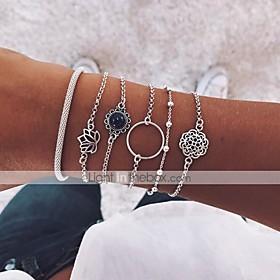 6pcs Women's Chain Bracelet Bracelet Bangles Pendant Bracelet Layered Retro Moon Lotus Flower Shape Vintage Boho Resin Bracelet Jewelry Silver For Party Daily