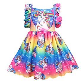 Kids Girls' Active Holiday Unicorn Patchwork Pleated Sleeveless Knee-length Dress Rainbow
