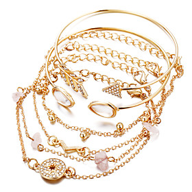 6pcs Women's Bracelet Layered Vintage Theme European Fashion Imitation Diamond Bracelet Jewelry Gold For Wedding Anniversary Formal Festival