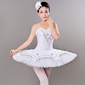 Ballet Dresses / Tutus  Skirts Women's Training / Performance Polyester / Mesh Feathers / Fur / Crystals / Rhinestones Sleeveless Dress