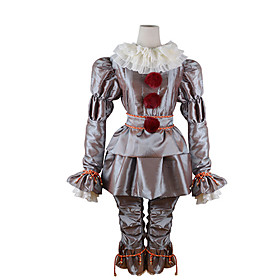 Burlesque Clown Pennywise Cosplay Costume Outfits Adults' Men's Cosplay Halloween Halloween Carnival Masquerade Festival / Holiday Polyster Silver Men's Women'