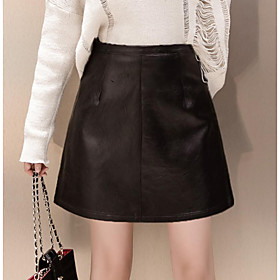 Women's A Line Skirts - Solid Colored Black