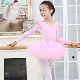 Kids' Dancewear Ballet Skirts Cascading Ruffles Girls' Training Performance Long Sleeve Mesh Spandex