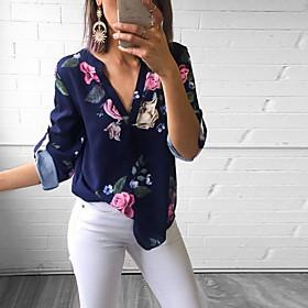 Women's Blouse Floral Slim Tops V Neck White Blue Purple