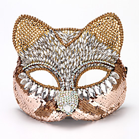 Catwoman Cosplay Costume Mask Eye Mask Adults' Men's Cosplay Halloween Halloween Carnival Masquerade Festival / Holiday PVC(PolyVinyl Chloride) Sequin Black /