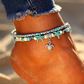 Ankle Bracelet feet jewelry Ladies Bohemian Ethnic Women's Body Jewelry For Going out Beach Layered Double Turquoise Alloy Turtle Starfish Silver Elephant Tree