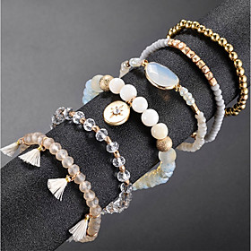 6pcs Women's Bead Bracelet Vintage Bracelet Earrings / Bracelet Layered Blessed Simple Classic Fashion Cute Elegant Rhinestone Bracelet Jewelry Gold For Daily