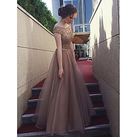 A-Line Bateau Neck Floor Length Tulle / Sequined Bridesmaid Dress with Sequin