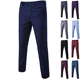 Men's Basic Dress Pants Chinos Pants Solid Colored Black Blue Purple M L XL