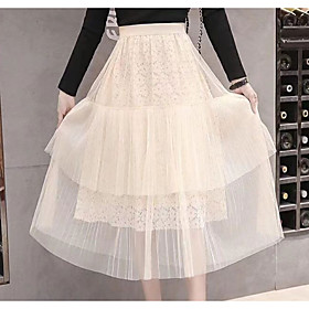 Women's Basic A Line Skirts - Solid Colored White Black Beige
