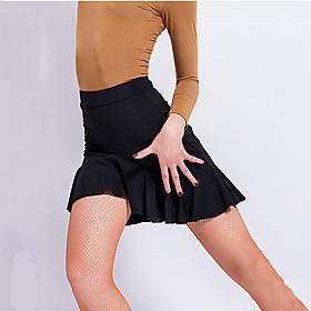 Latin Dance Skirts Pleats Draping Cascading Ruffles Women's Training Performance Dropped Spandex