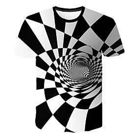 Men's Causal T-shirt Geometric 3D Graphic Print Short Sleeve Tops Round Neck White / Summer