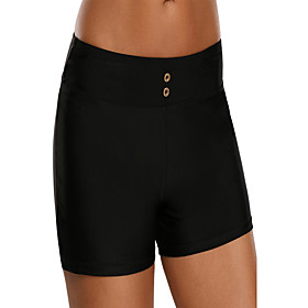 Women's Casual / Sporty Swimwear Bottoms Swimsuit High Waist Solid Colored Swimwear Bathing Suits Black