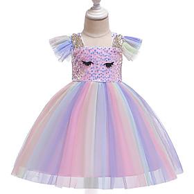 Baby Girls' Active / Street chic Rainbow Short Sleeve Knee-length Dress Blushing Pink