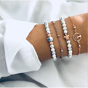 4pcs Women's Bead Bracelet Bracelet Layered Tree of Life Turtle life Tree Stylish Simple Bohemian European Resin Bracelet Jewelry Gold For Party Gift Daily Dat