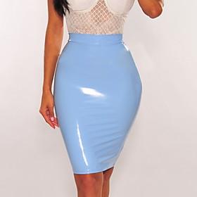 Women's Basic PU Bodycon Skirts - Solid Colored Sequins Black Fuchsia Light Blue M L XL
