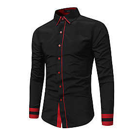 Men's Causal Shirt Color Block Patchwork Long Sleeve Tops Basic Black Red Gray