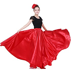 Latin Dance Skirts Gore Women's Performance Natural Matte Satin