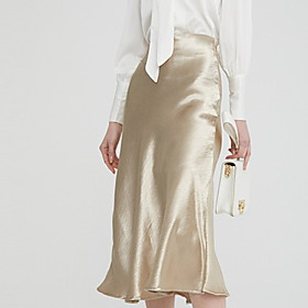 Women's A Line Skirts - Solid Colored Gold Silver M L XL