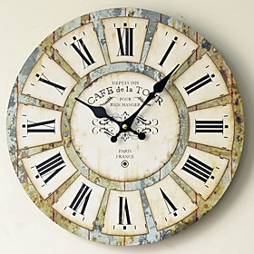 1pcs Wall Sticker Clock Home Restaurant Decoration Clock Personality Solid Wood Mute