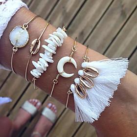5pcs Women's Clear Crystal Bracelet Bangles Earrings / Bracelet Layered Shell Vintage Trendy Fashion Boho Cord Bracelet Jewelry Gold For Daily School Street Ho