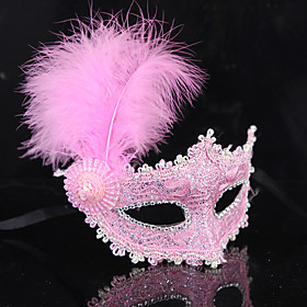 Princess Mask Venetian Mask Masquerade Mask Feather Mask Half Mask Adults' Women's Vintage Party Halloween Carnival Masquerade Festival / Holiday Plastics Feat