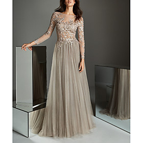 A-Line Elegant Grey Wedding Guest Formal Evening Dress Illusion Neck Long Sleeve Sweep / Brush Train Lace Tulle with Pleats Appliques 2020
