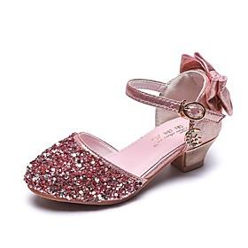 Girls' Heels Flower Girl Shoes Synthetics Big Kids(7years ) Pink / Silver Summer