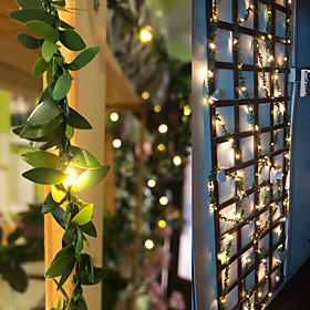 2M 3M 5M 10M Ivy Leaf Garland Holiday String Lamp AA Battery Operate Copper LED Fairy String Lights For Christmas Xmas Decor Lighting Home New Year Warm White