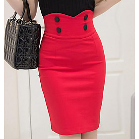 Women's Basic Plus Size Above Knee Pencil Skirts Solid Colored