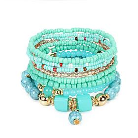 5pcs Women's Black Green Red Bead Bracelet Vintage Bracelet Earrings / Bracelet Layered Weave Vintage Ethnic Korean Fashion Boho Alloy Bracelet Jewelry Black /