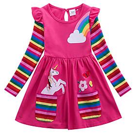 Kids Girls' Active Unicorn Geometric Animal Print Long Sleeve Above Knee Dress Blue