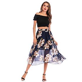 Women's Basic Streetwear Midi Skirts Floral Chiffon / Loose