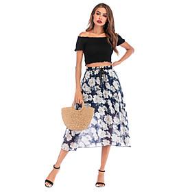 Women's Basic Streetwear Midi Skirts Floral Chiffon Print